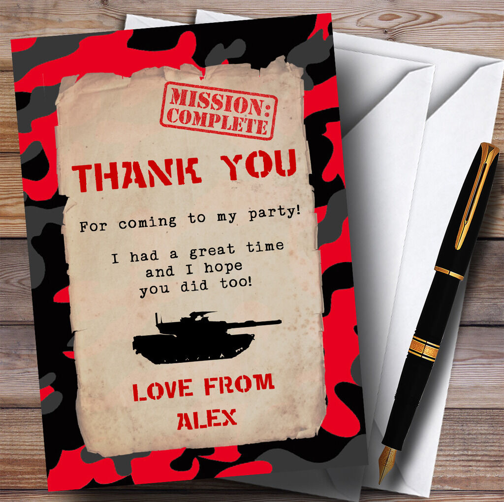 rot Army Soldier Camouflage Party Thank You Cards