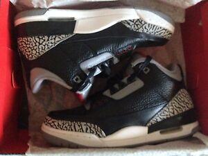 Nike Air Jordan 3 Retro Black/Varsity Red-Cement Grey 136064 010 Size 7 US