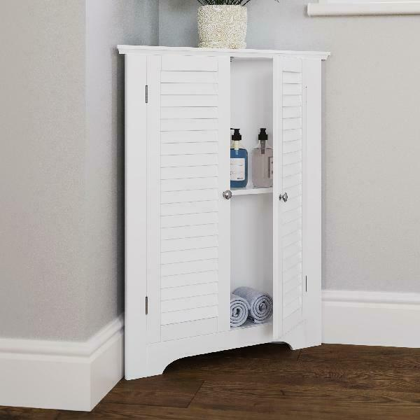 3 Shelf Corner Bathroom Cabinet Free Standing Space Saver Laundry Room White New For Sale Online