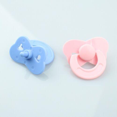 2 Pcs//set Tiny Pacifier Dummy Fit Reborn Baby Dolls Pink Blue Dolls Accessories