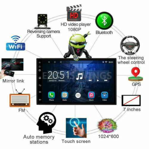 Android 8.1 WiFi 2Din 7in HD Quad Core GPS Navi Car Stereo Radio MP5 Player FM