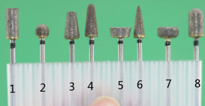 2.35mm Shank Sintered Diamond grinding burs 8pcs/set for grinding jade glass