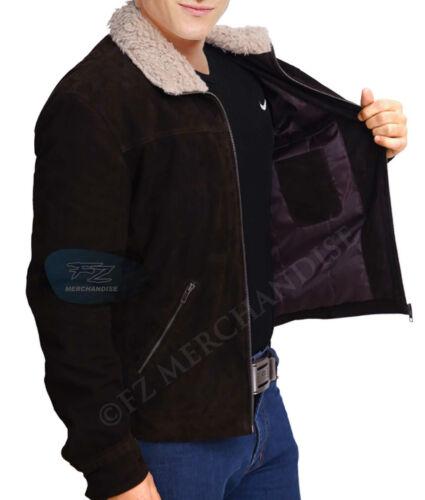 Grimes in pelliccia con marrone Giacca in Season Walking scamosciata collo 4 The Rick pelle vera Dead a6t7Z