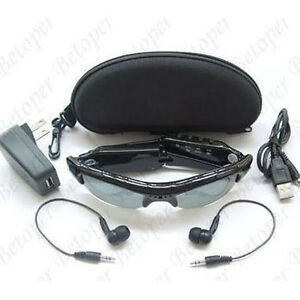 New-Spy-Sun-Glasses-DVR-Camera-Video-Recorder-Audio-Mp3-Player-Black-In-Box