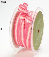 "3/8"" Grosgrain Striped Ribbon – May Arts - XE22 Dk Pink/Lt Pink - 5 Yds"