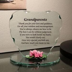 Détails Sur Verre Cœur Plaque Cadeau Pour Grand Parents Joli Poème Porcelaine Fleurs Cadre Afficher Le Titre Dorigine