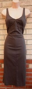 MARKS-SPENCER-COCOA-BROWN-V-NECK-SLEEVE-A-LINE-BODYCON-TEA-FITTED-DRESS-10-S
