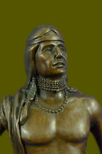 Art Deco Western Indian Male Warrior Bronze Sculpture Marble Statue Figurine LRG