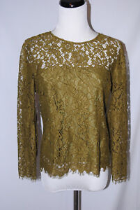 ac5e6db122a J Crew Petite Lace top with Built-In Cami  H3218 Burnished Moss ...