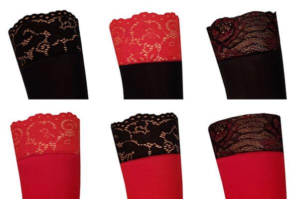 Strapsstrümpfe mit farbige Spitze dicke 60 den Strümpfe Strapse schwarz rot weiß