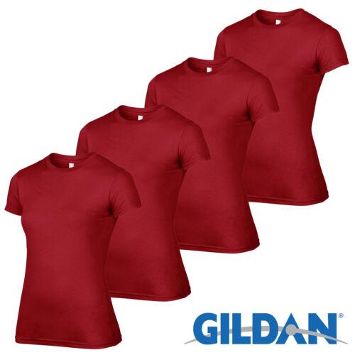 4 Pack Gildan WHITE Tshirt Plain Cotton T Shirt Ladies Workwear Wholesale Girls