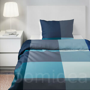 ikea brunkrissla 2 tlg bettw sche set 140x200 80x80 bettbezug blau grau neu ebay. Black Bedroom Furniture Sets. Home Design Ideas