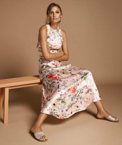 ex M/&S Marks /& Spencer Satin Floral Maxi Cut Out Occasion Dress