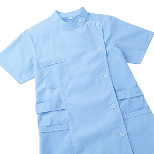 Womens Adults Short Sleeve Hospital Medical Nurse Scrub Lab Coat Uniform Dress