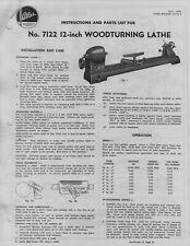 Atlas 7122 Wood Lathe Instruction Amp Parts Manual 12 Inch