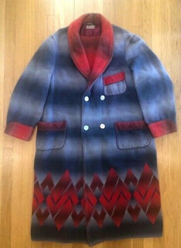 VTG Beacon Blanket Art Deco Aztec Ombre Wrap Robe