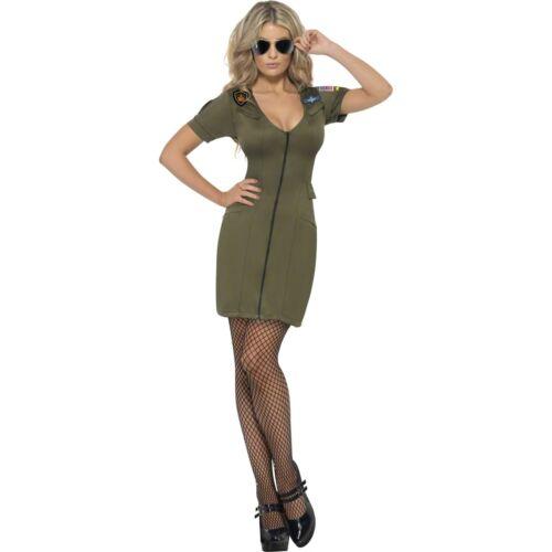 80/'s Military Top Gun Aviator Pilot Womens Ladies Fancy Dress Costume