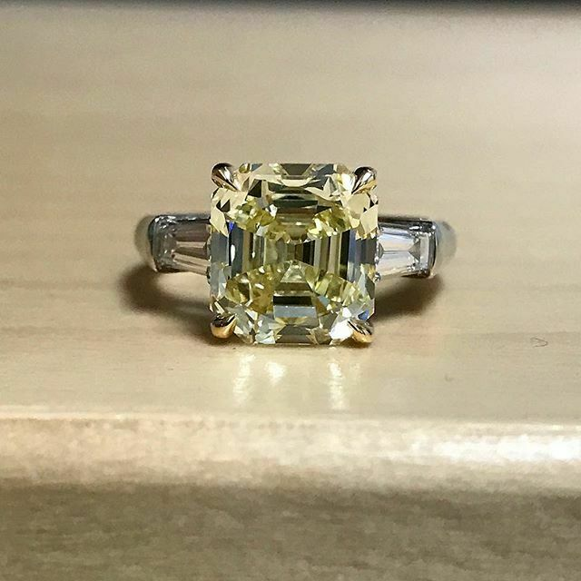2.5Ct Asscher Cut Yellow Sapphire Trilogy Engagement Ring 18K White gold Finish