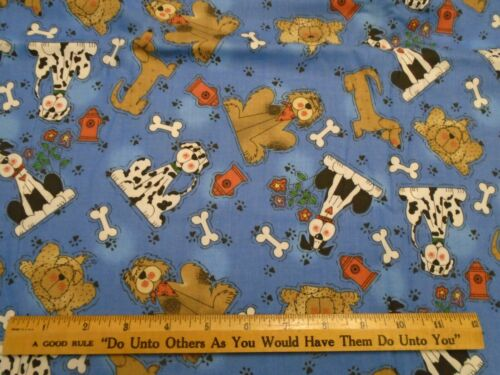 """44/"""" wide 1//4 yd. The Whole Country Caboodle blue Happy Dogs print cotton fabric"""