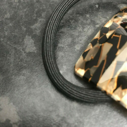Extra Thick Hair Elastic Ponio Hair Band Tort Tortoise Brown Square Shell