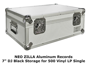 Neo-7-034-Inch-LP-500-Vinyl-Record-Aluminium-Flight-DJ-Storage-Case-Silver-Color-UK