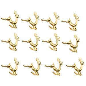 12-StueCke-Weihnachten-Elch-Deer-Servietten-Ringe-Gold-Legierung-Serviettens-L9O7