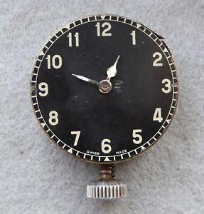 Military style car clock for repair, 44 x 14 mm, broken balance.