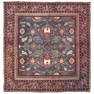 6X6-Antique-Square-Indian-Agra-Area-Rug-1890-039-s-Hand-Knotted-Wool-5-7-x-5-9