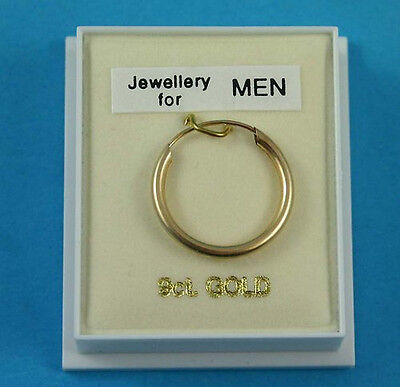 h New Boxed Mens 9ct 9Carat Yellow Gold Sleeper Hoop Earring 20mm Hallmarked