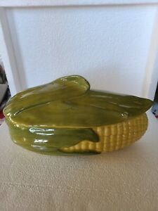 Vintage SHAWNEE Corn King Pottery Covered Casserole Dish #74 Oven Proof 5.5x11.5