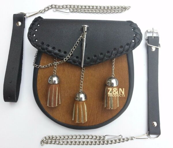 3 Nappine, Pelliccia Marrone Goccia Sul Davanti, Lo Sporran Kilt Pin Latch + Cintura Set