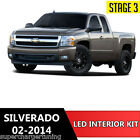 18pcs White LED Light Interior License Package Kit For Chevy Silverado 2002-2014