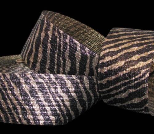 "5 Yards Animal Print Tiger Stripe Gold Brown Metallic Safari Wired Ribbon 3/""W"
