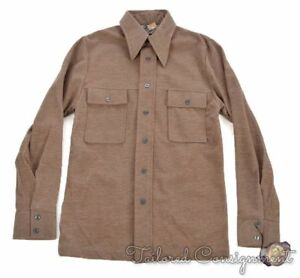 LEVI-039-S-PANATELA-Vintage-VTG-Brown-Polyester-Shirt-SUIT-Pants-NWT-Small-36-S