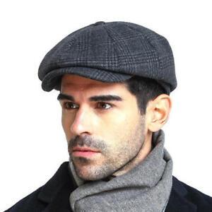Men Wool Gird Beret Hat Winter Warm Vintage Gentleman Octagonal Cap ... dad8addbd6b