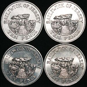 Mix-Of-Jersey-Elizabeth-II-10-Pence-Coins-Cupro-Nickel-Bulk-Coins-KM-Coins