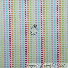 BonEful Fabric FQ Cotton Quilt White Rainbow Pink Heart Candy Valentine S Stripe