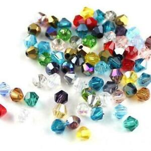 100PCS Crystal Glass Faceted Loose Spacer Beads lot Jewelry S7J8 4mm DIY X9E9