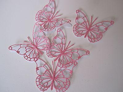 10 Medium Die Cut 3d Butterfly Topper Pink Glitter / White Card Modern Ontwerp