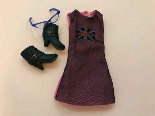 L#026 NEW Doll Dress//Ankle Black Shoes//decor glasses 1SET for LIV Doll