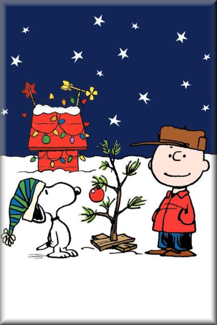 Vintage Charlie Brown Cartoon, Christmas Tree Flat Flexible Refrigerator Magnet