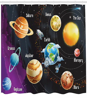 Universe Infographics Solar System Planets Shower Curtain Set Waterproof Fabric