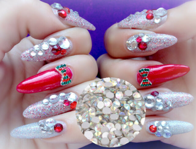 144 pcs Colorful Crystal Rhinestones SS10 Acrylic UV Nail Art for decoration