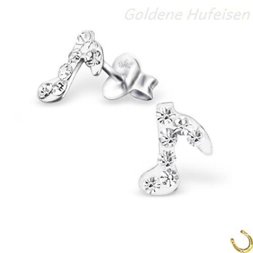 Kristall Musiknote Ohrstecker 925 Silber Ohrringe Kinder Geschenkidee *619*gh-1a
