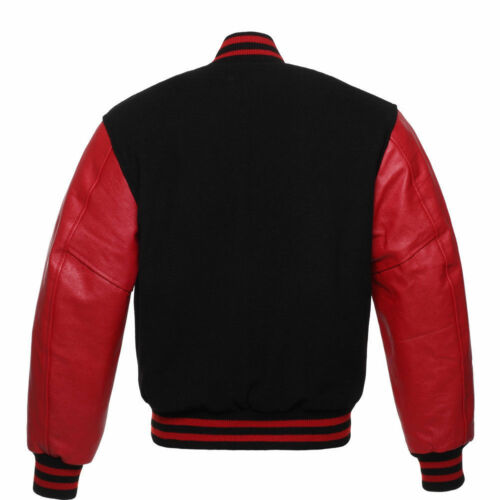 RED Pure Leather Sleeves BLACK Wool Varsity Letterman Bomber BASEBALL Jacket
