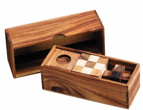3 Puzzle wooden brain teaser Gift Set