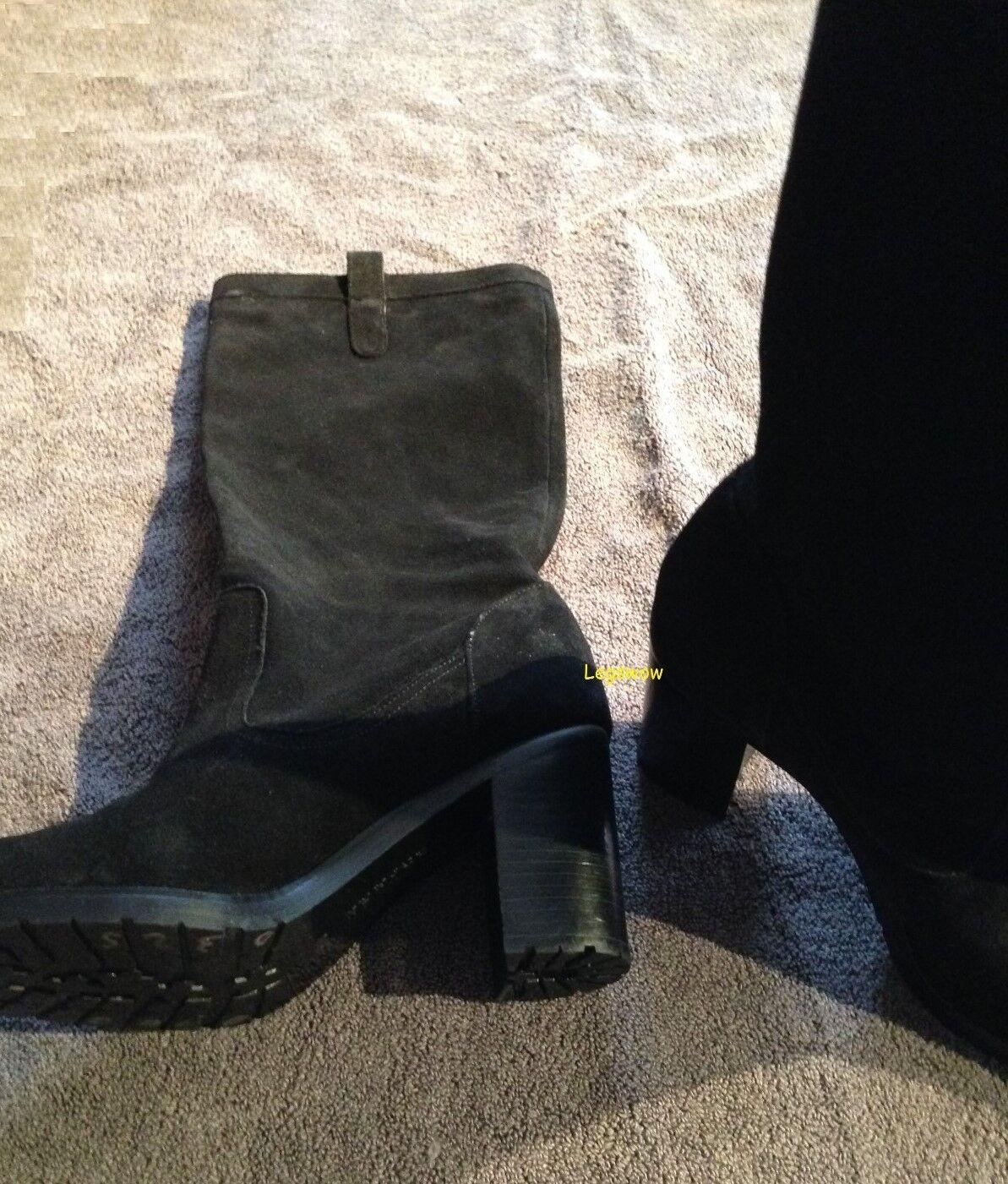 Ralph Lauren 3 3 4  Cuero Gamuza Talón la rodilla botas altas 17  Negro para Mujer 9.5 Nuevo