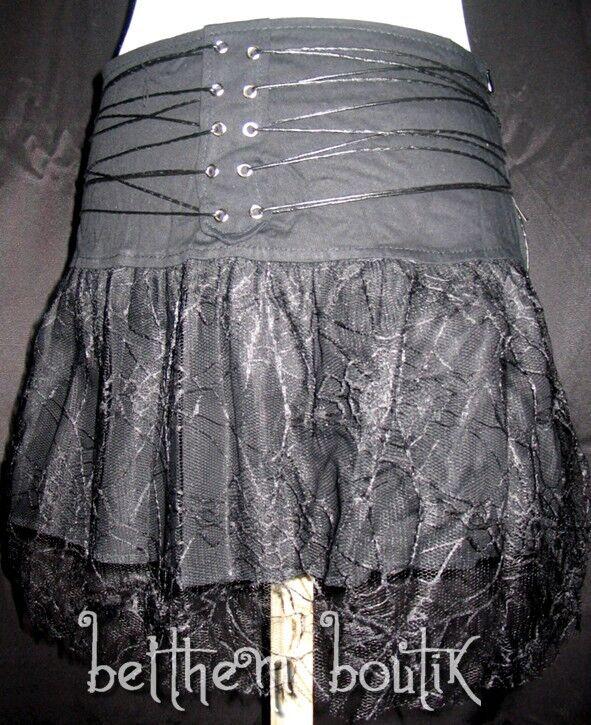 Goth   Jupe Jupette blackE Voile Toile Araignée & Lacets