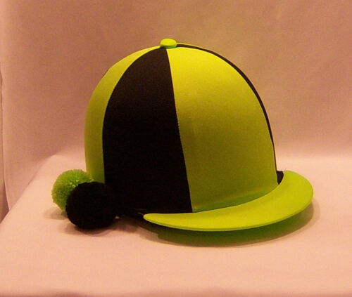 RIDING HAT COVER FLUORESCENT LIME & BLACK