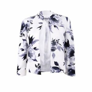 Kasper-Floral-Print-Flyaway-Jacket-Color-Steel-Multi-Size-8P
